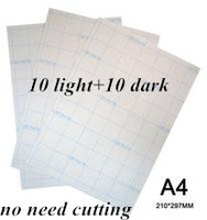 20 pcs=10 Light+10 Dark Laser Transfer Paper A4 Paper Heat Thermal Transfer Printing Paper Stickers With Heat Press For tshirt