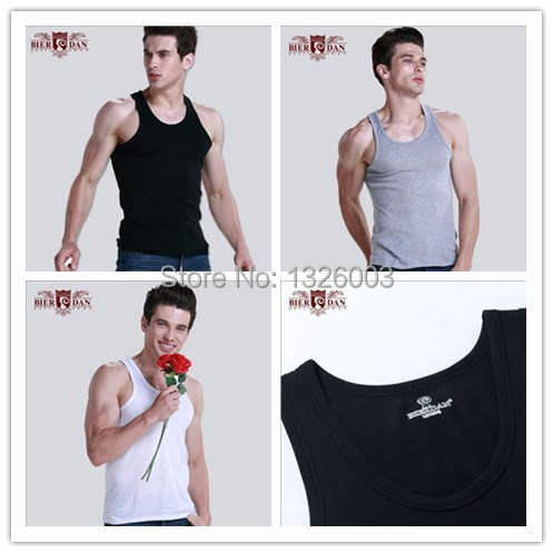 (3 Colors) 50% OFF 100% Cotton Active Sports Solid White Black Gray Men Clothing Tops Tee Tank Vest Wholesales Free Shipping M L(China (Mainland))
