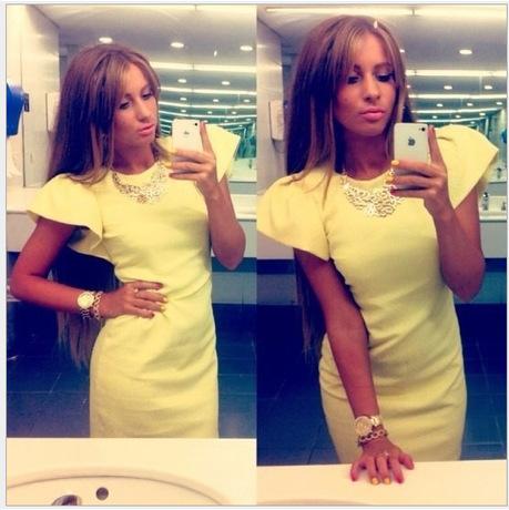 Fashion Summer Dress 2015 Workwear OL Style Casual Dresses Pencil Dresses Plus Size Yellow Short Sleeve Women Dress Summer Style(China (Mainland))