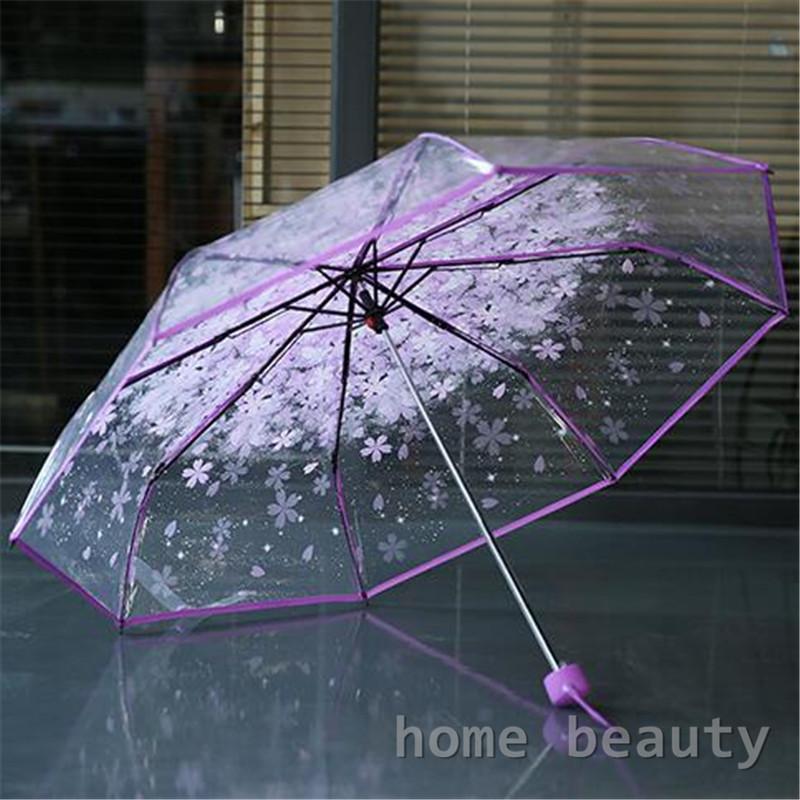 8k 3 fold sun rain umbrellas high quality rain tools woman flowers transparent umbrella for female and male FH153(China (Mainland))