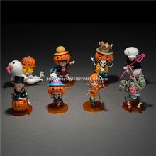 Anime One Piece Luffy Zoro Nami Robin Sanji Chopper Halloween Ver. PVC Action Figure Model Toys Dolls 8pcs/set AOP025