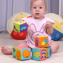 6 in 1 Set New Infant Baby Cloth Soft Rattle Building Blocks Educational Toys Baby Toy Soft Blocks Set Cube Cloth HB88(China (Mainland))