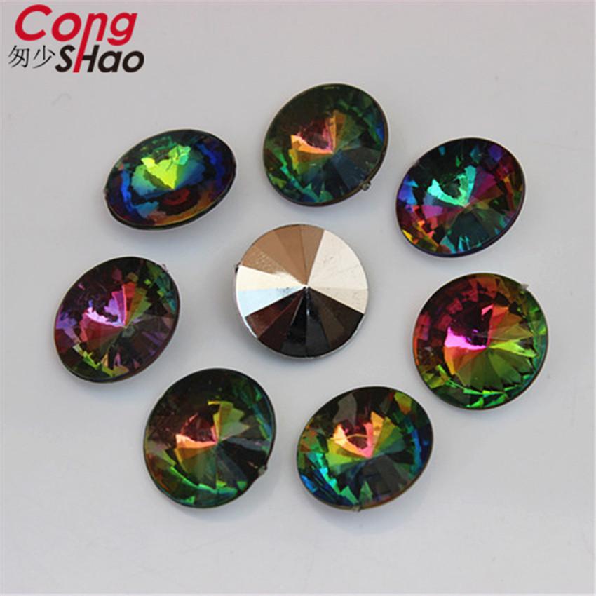Cong Shao 16mm 100Pcs Super Shiny AB color Round Rivoli Crystal Fancy Stone Acrylic Rhineston Beads Jewelry Accessories ZZ406(China (Mainland))