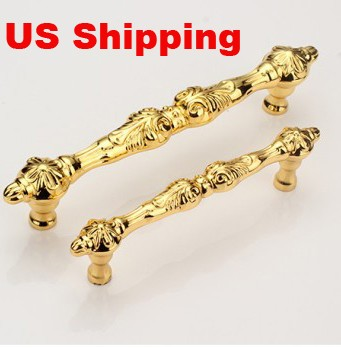 US Shipping 10pcs 96mm golden color zinc alloy antique drawer pulls furniture handles(China (Mainland))