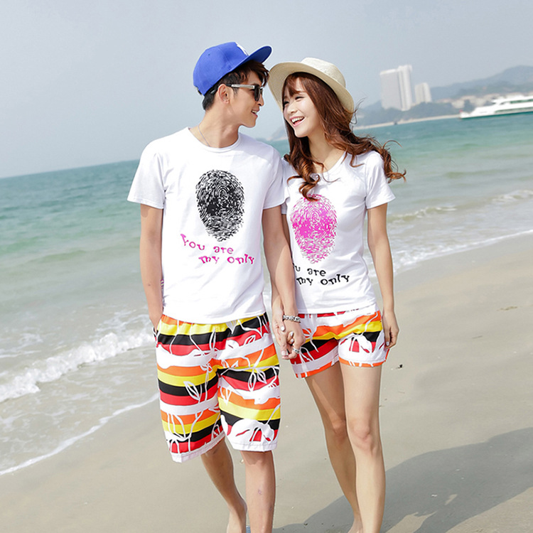 2015 korean couple shirts and pants for beach for lovers fingerprint matching couple clothes ...