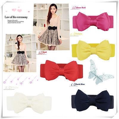Hot Womens Chiffon Bowknot Elastic Bow Wide Stretch Buckle Waistband Waist Belt 6 Colors(China (Mainland))