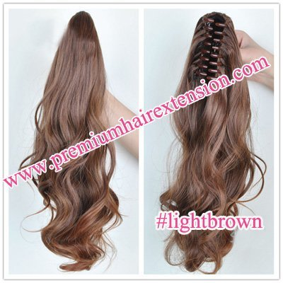 """20"""" Body wave Claw Clip Synthetic Ponytail Hair Extensions clip in ponytail hair pieces # light brown free shipping"""