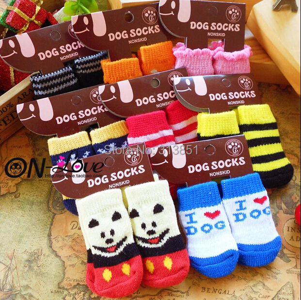 Pet Products Supplies Dog Socks Dog Boots Shoes Cute Warm Indoor Skid-resistant Anti-slip More Colors Free Shipping 4PCS/SET(China (Mainland))