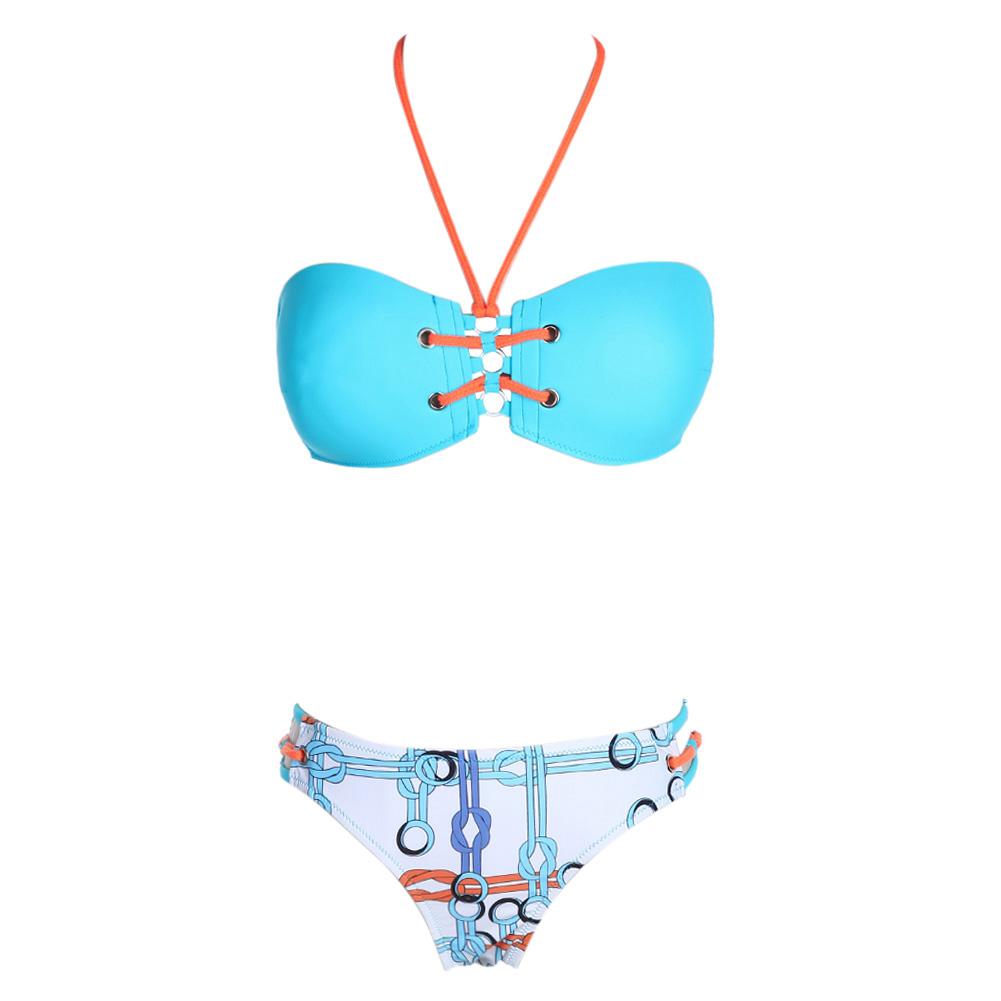 2017 Sexy Bikini Set Women Halter Bikinis Bathing Suit Triangle Swimming Suit Swimwear Bandage Tankini Monokini Biquini Swimsuit