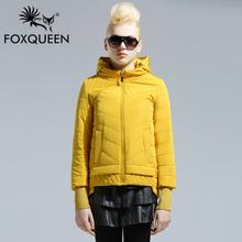 Foxqueen 2016 Spring Jacket Women Winter Coat Women Warm hooded Outwear Thin Padded Cotton Jacket Short