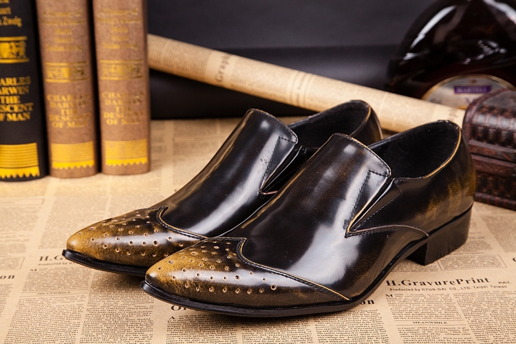 ITALY Style! Men's Leather Shoes pointed casual shoes elegant mens dress genuine leather Business, EU38-46