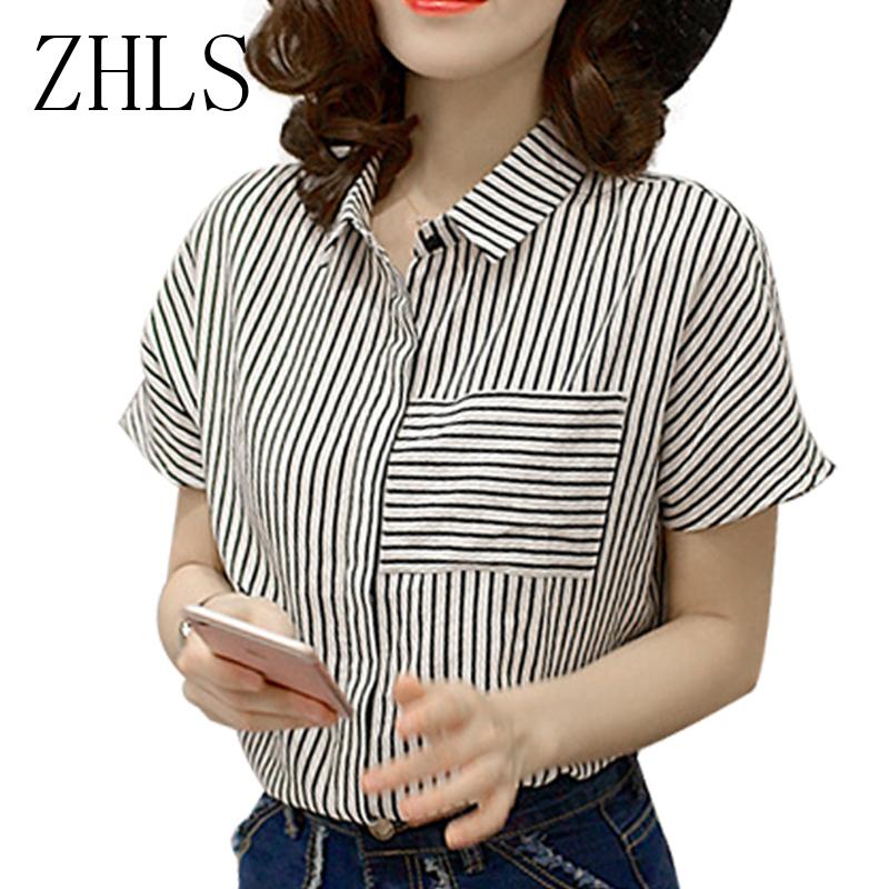 Black And White Striped Shirt Women Summer Tops Korean Fashion Office Ladies Shirts Short Sleeve Plus Size Women Blouse(China (Mainland))