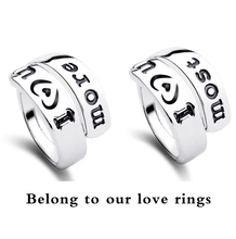 free shipping i love u more brand promise bridal 18K white Gold Plated for women couple lover painting letter finer ring fashion(China (Mainland))