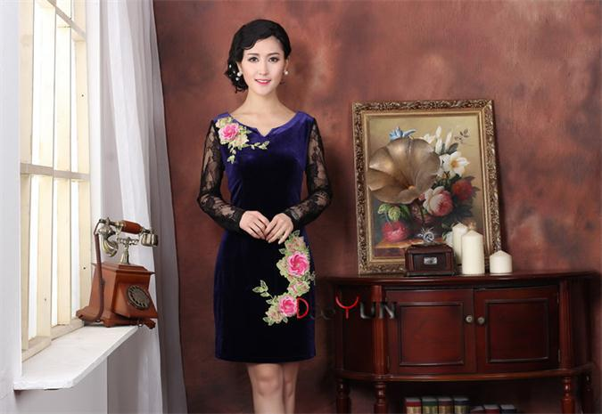 New Style Chinese traditional brand stretch Purple Velvet cheongsam the women qipao dress free shipping S M L XL XXLОдежда и ак�е��уары<br><br><br>Aliexpress