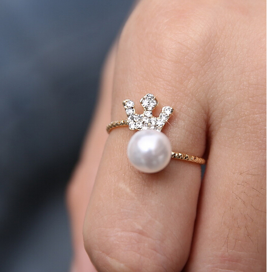 20pcs/lot Charm Princess Crown Ring Gold Crown Shaped Ring with Imitation Pearl 2015 New Arrival Styles Rings Optional(China (Mainland))