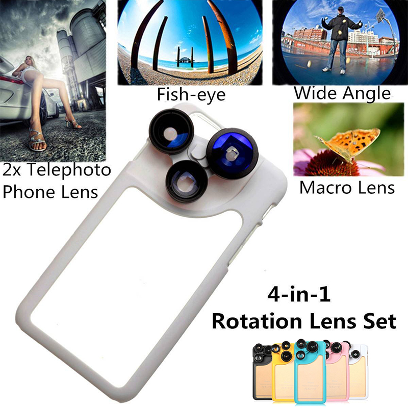 4in1 Phone Camera Lens Dial Case for iPhone 6 Macro Telephoto Wide Angle Fisheye Lens for iPhone6 plus Internal Soft Cover Shell(China (Mainland))