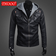 2012 THOOO new  wholesale Short Hooded PU leather jacket Blacks MEN'S JACKET coat M L XL 2XL 3XL 4XL 5XL(China (Mainland))