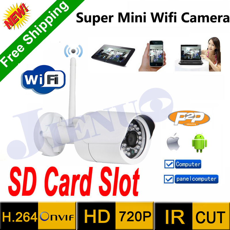Latest original HD mini ip camera security wifi 720P surveillance outdoor waterproof IR support SD card vide cmos cctv cam(China (Mainland))