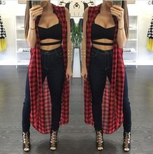 2015 Hot New Women Sexy Loose Fit Tartan Plaid Side Split Long Shirt Check Beach Maxi Blouse