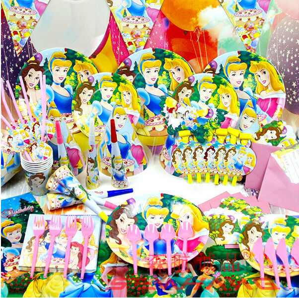 2014 New 90pcs Luxury Kids Birthday Party Decoration Set Snow White Decoration Theme Party Supplies Baby Birthday Party Pack