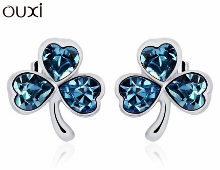 Best Quality Earrings Three Clovers Flower Stud Earrings Made with Swarovski Elements Crystals from Swarovski OUXI ERA080(China (Mainland))