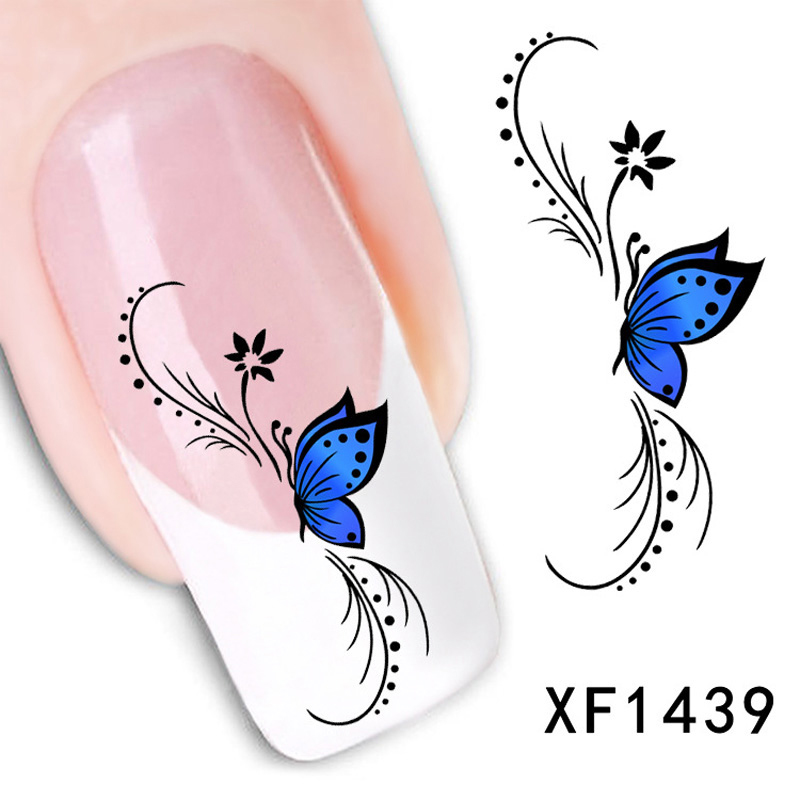 1Pcs Fashion Beauty Blue Style Nail Stickers Water Transfer Design Nail Art Decorations Decals Stickers For Nails(China (Mainland))