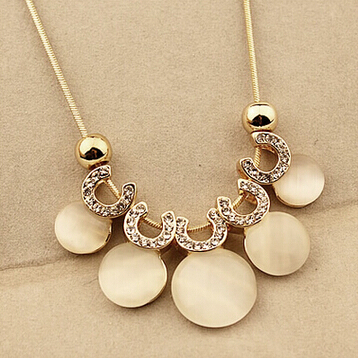 Best Selling new fashion jewelry accessories opal gem pendant necklace black leather chain women collar - ABC Mall store
