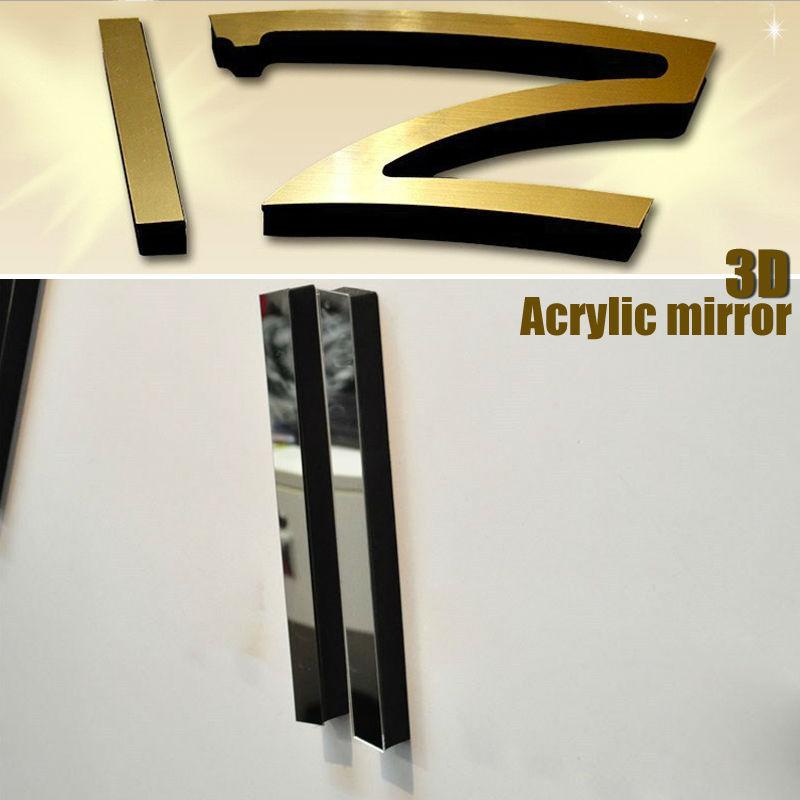 אופנה 3D גדול גודל שעון קיר מראה המדבקה DIY קצר חיים עיצוב חדר meetting חדר שעון קיר