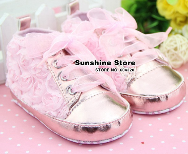 Rossete bows baby shoes lace pink shabby flower girls pink !antiskid prewalker rosset bow autumn Christmas #2B2035 3 pair/lot