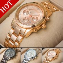 Famosa marca de moda para mujer Rhinestone oro mujeres Auto fecha de acero lleno relojes de cuarzo Casual reloj relogio feminino