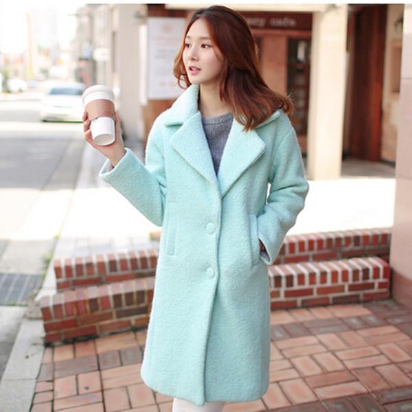 Korean style 2015 new wool cashmere coat high quality long winter coat women woolen jackets lapel collar coats female Q0341 Одежда и ак�е��уары<br><br><br>Aliexpress