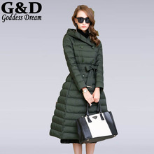 2015 New European X-Long Double Breasted Winter Jacket Women White Duck Down Dress Coat With Hoodies Parkas Pluma Mujer JD205