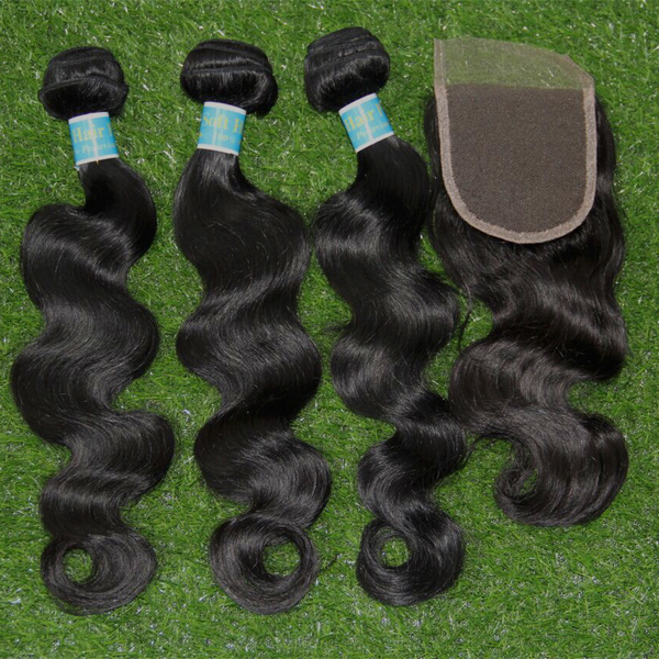 peruvian body wave with closure 6A rosa hair products with closure<br><br>Aliexpress