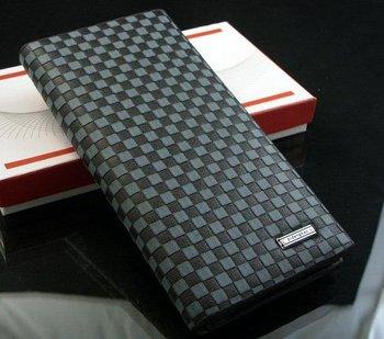 Free shipping,2014 fashion Mens genuine cow Leather long Wallet Pockets rfid Card Clutch Cente Bifold Purse,black,wholesale WBL4