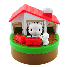 2015 Itazura Automated Stealing Coin Cat Mouse Kitty Penny Piggy Bank Saving Box Money Box Kid Present Free Shipping(China (Mainland))