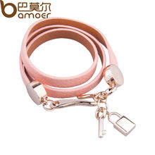 BAMOER Luxury Real 18K Gold Plated Genuine Pink Wrap Leather Bracelet Three Circle Jewelry for Women PI0327(China (Mainland))