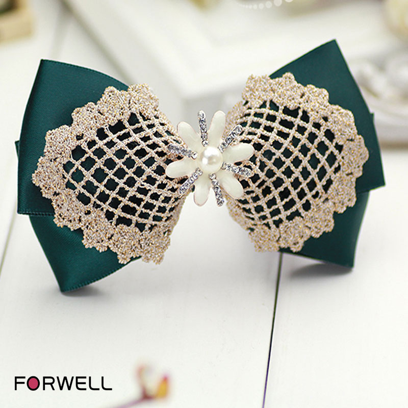 Palace style hairpins for girls headdress flower retro style green bow golden lace hair clip pearl spring clip hair accessories(China (Mainland))