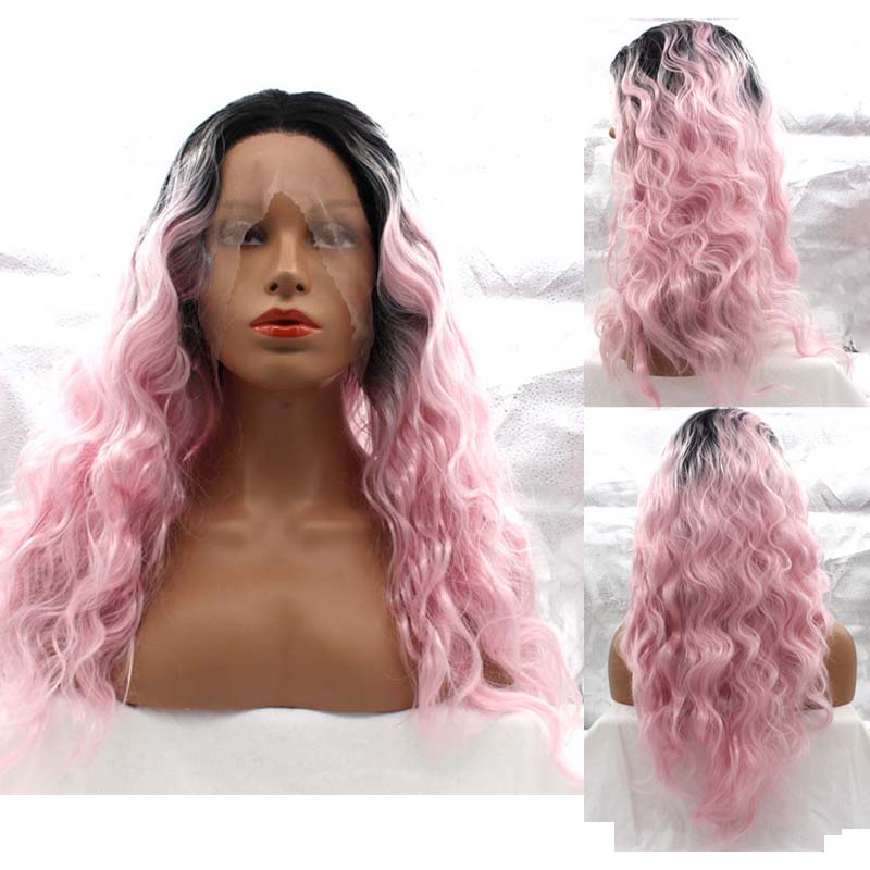 Фотография Long Curly Hair Sexy Dark Root To Pink Ombre Lace Front Wig Japan Kanekalon Fiber Lace Front Synthetic Wig Top Grade Loose Curly