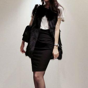 Autumn & Winter Women's Faux fox fur Vest Long Style V-collar False Fur Vest Free Shipping Black vest white