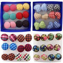 Good 6 Pairs Vintage  jewelry Colorful Cloth Button Plastic Pin Ear Studs Earrings  Fashion Trendy accessories 4ZH4(China (Mainland))