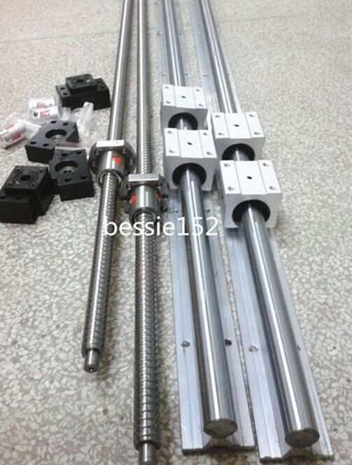 2x SBR20 L = 1500 / linear supported rails sets+ 2 ball screws sets RM1605 1550 1550mm + BK/BF12 couplers - Gcr15...psyche store