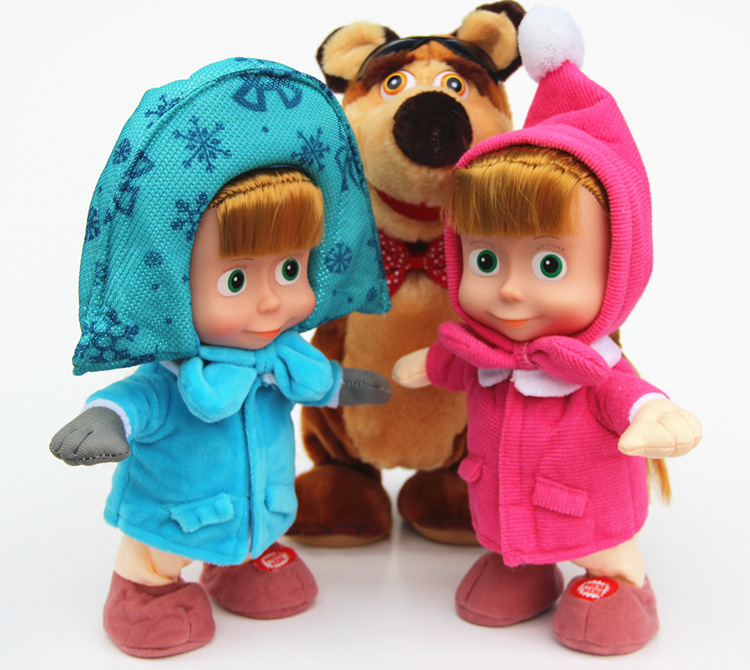 Russia Movie Musical Dancing Masha And Bear Soft Plush Dolls Talking Sound Record Stuffed Toys For Baby Children Birthday Gifts<br><br>Aliexpress