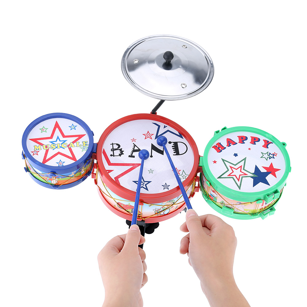 High Quality Set of Small Jazz Drum Toy Durable Plastic Kids Educational Electronic Jazz Drum Musical Instrument Toy(China (Mainland))