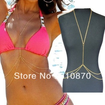 2013 Hot Selling Sexy Belly Waist Body Chain Simple Bikini Beach Harness Slave Necklace Dance Party Jewelry