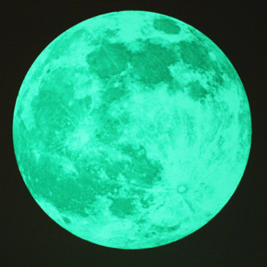 """Moon Glow in the Dark Moonlight Large Wall Stickers Space Home Decor 19.6""""(China (Mainland))"""
