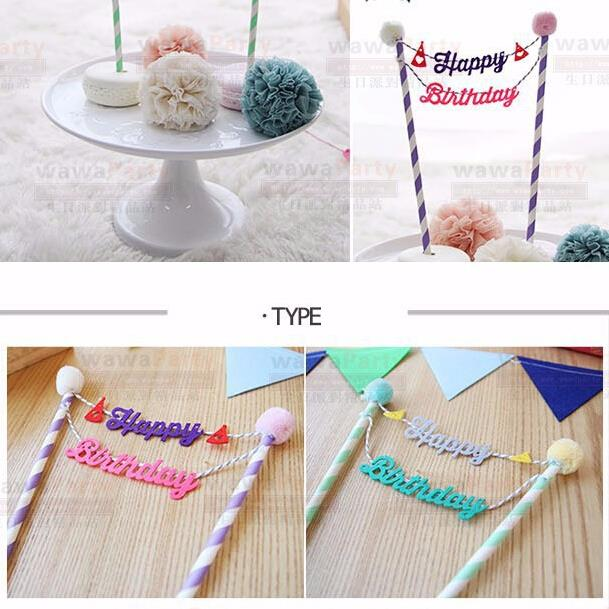 "Happy Birthday"" Cake Cupcake Topper Cake Baking Decoration Baby Shower Birthday Party Cake Decoration Party Supplies(China (Mainland))"