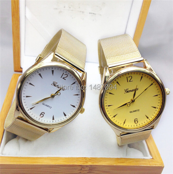 1pcs Hot Sale Quartz Casual Watch Fashion Bright Gold Women Wristwatches New Metal Mesh Stainless Steel Watches 247<br><br>Aliexpress