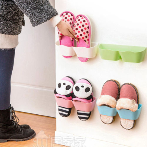 Plastic Shoe Racks Stand Wall Holder Shoes Cabinet Self -adhesive Display Shelf Organizer Wall Rack(China (Mainland))