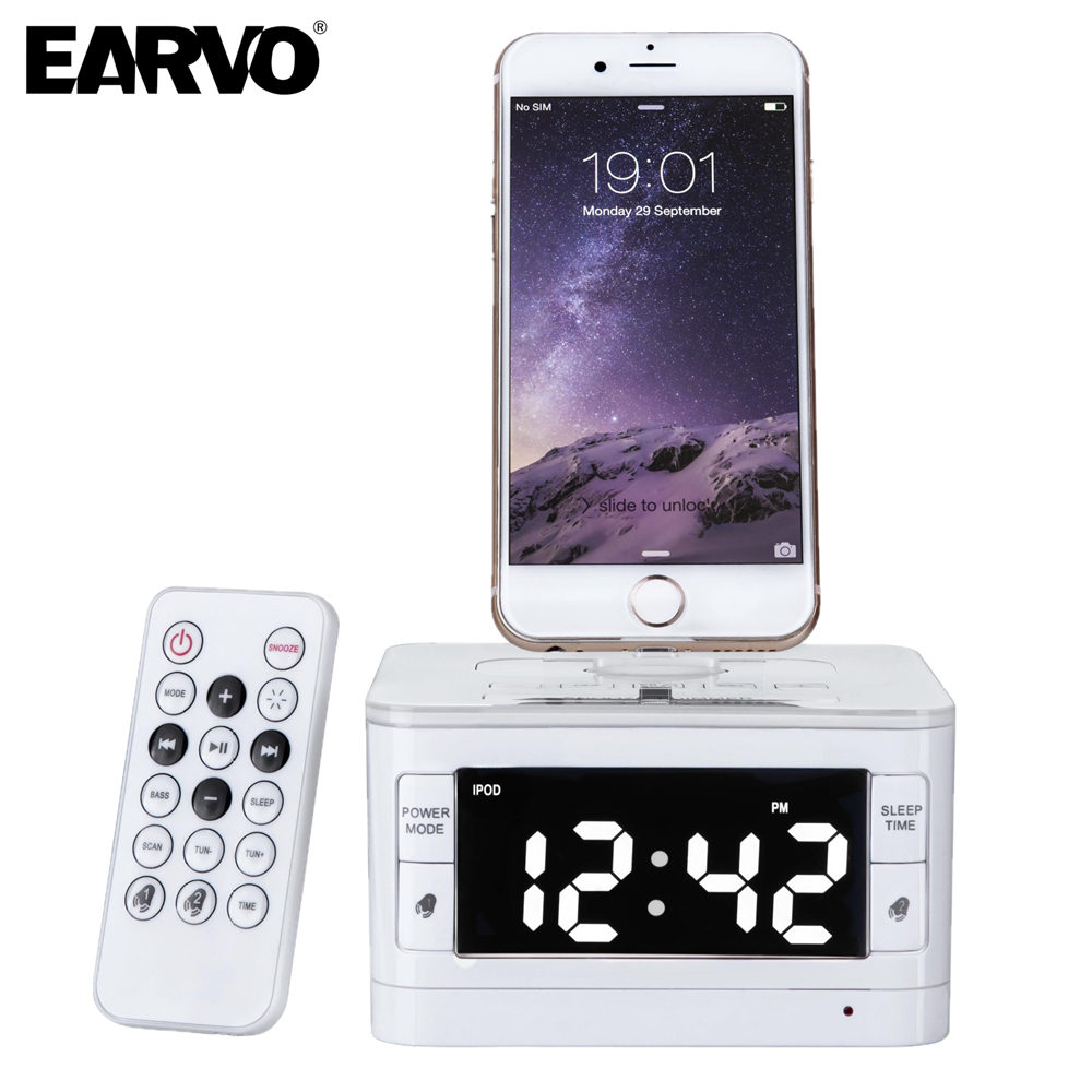 8 pin Portable Loudspeaker Speaker Charger Dock Station for apple iPod/touch/iphone 5 5s 6 6s plus FM Radio Clock Remote Control(China (Mainland))