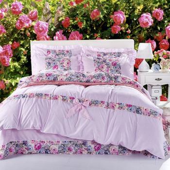 Домашний текстиль, Реактивной цветок печать 4 шт. отшлифовать хлопок постельное белье для большой кроватью хлопка постельных принадлежностей бесплатная прямая поставка